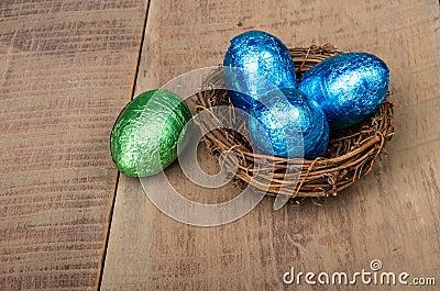 Small bird s nest with four foil eggs