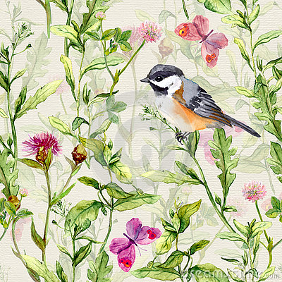 Free Small Bird, Spring Meadow Grass, Flowers, Butterflies. Repeating Pattern. Watercolor Stock Images - 75630444