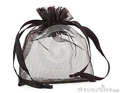 Small black gauze present bag