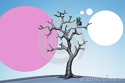 Small blue bird in the tree. 3d illustration
