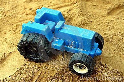 Small blue children tractor toy