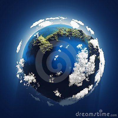 Small blue planet, aerial view