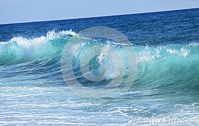 Small blue sea wave. Nature background