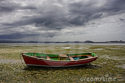Small boat aground