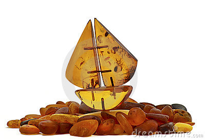 Small boat of Baltic amber