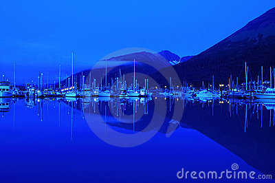 Small boat harbor at dawn