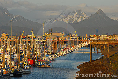 Small Boat Marina, Homer Spit, Alaska Editorial Stock Photo