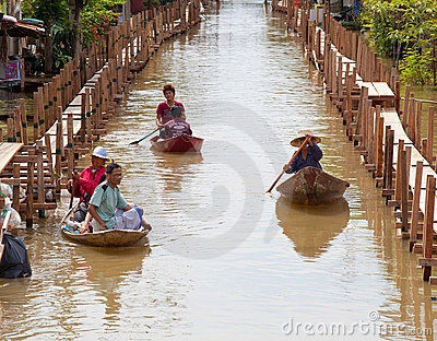 Small boat during the monsoon flooding in Thailand Editorial Image