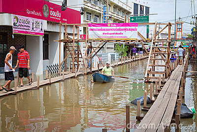 Small boat during the monsoon flooding in Thailand Editorial Photography