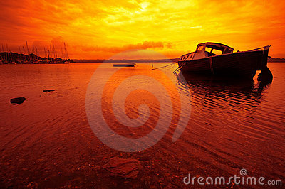 Small boat and Sunset in Denmark