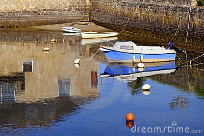 Small boats in a port of Brittany