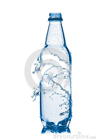 Small bottle of water. Isolated on white