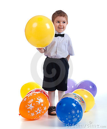 Small boy with colorful  air balloon.