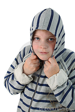 Small boy hidden in a hood isolated on white