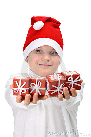Free Small Boy Holding Christmas Presents Stock Photography - 16886692