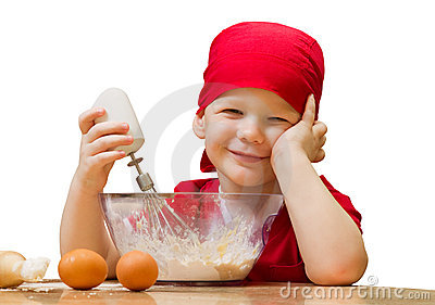 Small boy in kitchen with baking pie, isolated