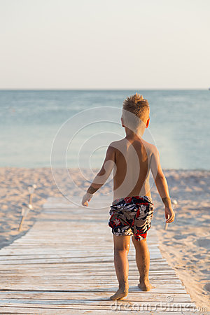Free Small Boy On The Beach Stock Images - 69437434