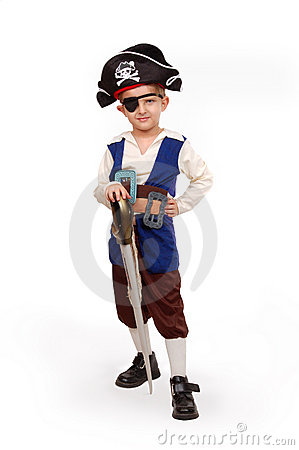 Small boy in the pirate costume
