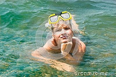 Small boy into the sea
