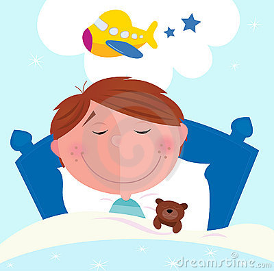 Free Small Boy Sleeping In Bed Dreaming About Airplane Royalty Free Stock Photo - 14363435