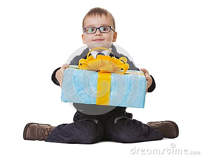 Small boy in spectecles with big present