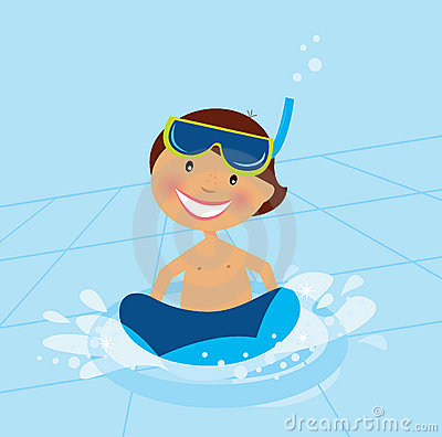 Free Small Boy Swimming In Water Pool Stock Photography - 13642342
