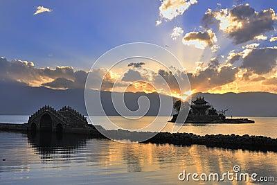 Small bridge---the temple---lake---sunset