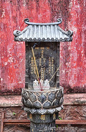 Small buddhist shrine in vietnam