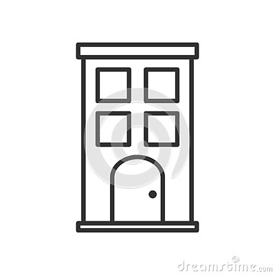 Small Building Outline Flat Icon on White Vector Illustration