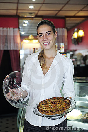 Small business: female owner of a cafe