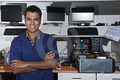 Small business owner of a computer repair store