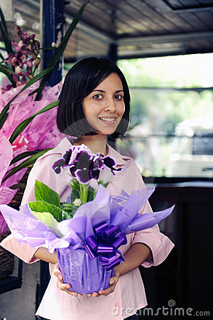 Free Small Business Owner: Woman And Her Flower Shop Royalty Free Stock Image - 13854316
