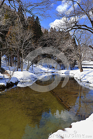 Small Canal Surrounded with Snow
