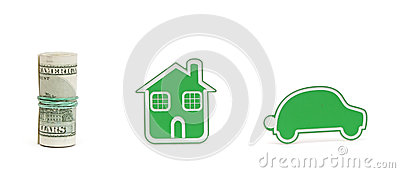 Small car and house icon