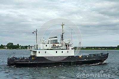 A small cargo-and-passenger ship