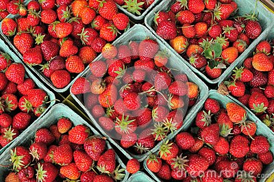 Small cartons of strawberries