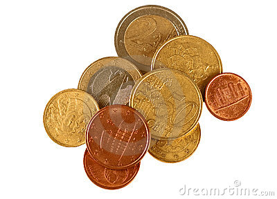 Small change - Euros, isolated over white