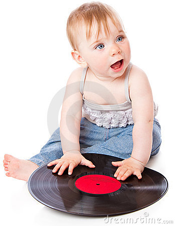The small child with a black gramophone record