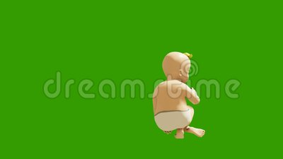 A small child dancing against a green screen. 3D rendering animation of small dancing children. Looped animation. Produced in 4K stock video