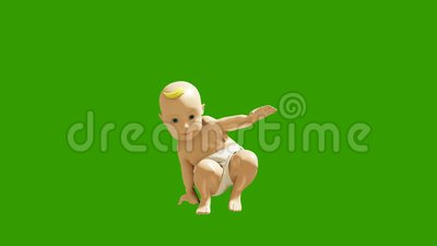 A small child dancing against a green screen. 3D rendering animation of small dancing children. Produced in 4K royalty free illustration