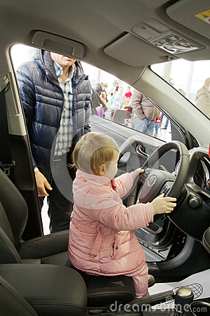 Small child drove the car Editorial Photography