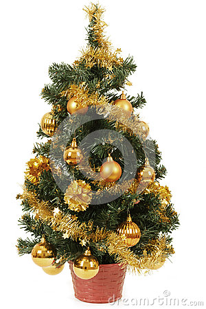 Free Small Christmas Tree In Pot With Yellow Balls Royalty Free Stock Photo - 28547795