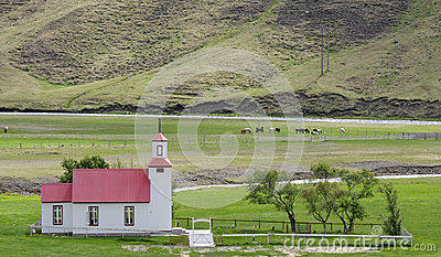 Small church in countryside Iceland
