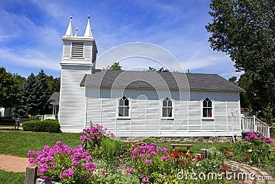 Small church and flower garden
