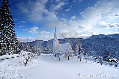 Small church in winter