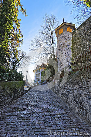 Free Small Cobblestone Paved Road In The Old City Of Thun Stock Photos - 66133943