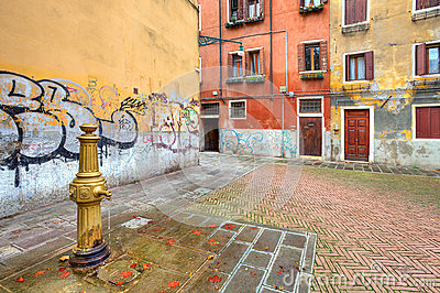 Small colorful plaza. Venice, Italy.
