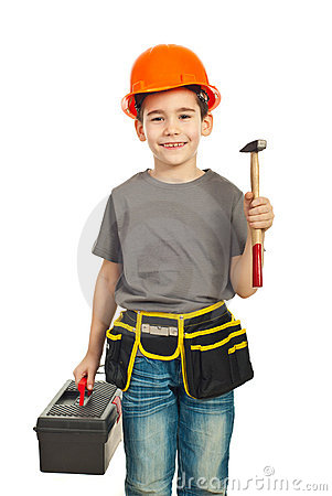 Small constructor kid holding hammer