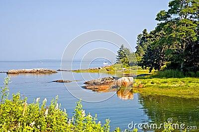 Small cove along Maine coast