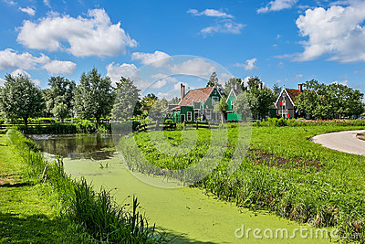 Small creek and rural houses in Zaanse Schans, Netherlands.